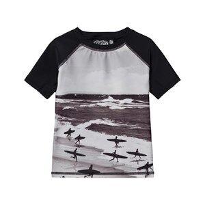 Image of Molo Unisex Swimwear and coverups Black Neptune UV Top Running Surfers