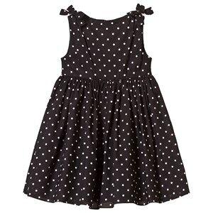 Image of Dolce & Gabbana Girls Dresses Black Black Spot Cotton Dress with Bow Shoulder Detail