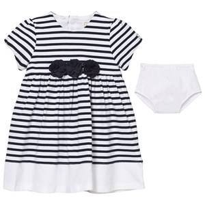Image of Emile et Rose Girls Dresses Navy Kiki White and Navy Stripe Dress with Knickers
