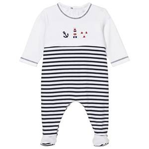 Emile et Rose Boys All in ones Navy Navy and White Kenzie Footed Baby Body