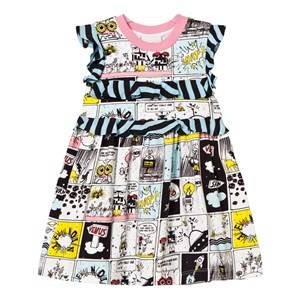Image of Fendi Girls Dresses White Multi Space Monster Print Frill Dress