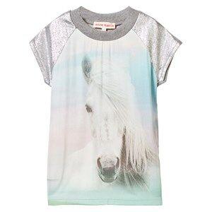 Anne Kurris Girls Dresses Multi Horse Print Sweat Dress with Lurex Sleeves