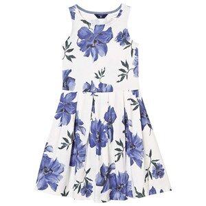 Image of Gant Girls Dresses White White and Blue Floral Sleeveless Dress