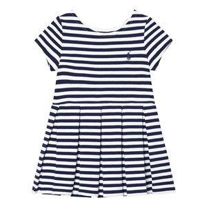 Ralph Lauren Girls Dresses Blue Striped Pleated Ponte Dress