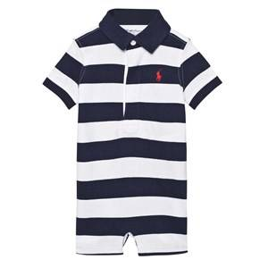Image of Ralph Lauren Girls All in ones Navy Striped Cotton Jersey Romper French Navy/White