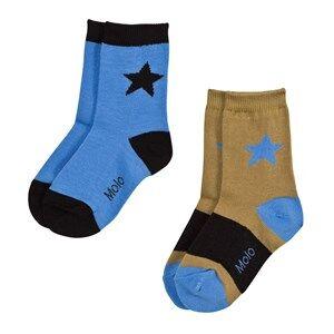 Molo Unisex Underwear Blue Nitis 2-Pack Socks Flourentic Blue