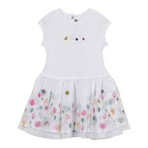 Image of Catimini Girls Dresses White White Jersey and Tulle Floral Detail Dress