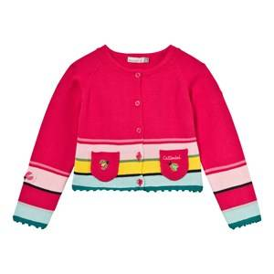 Image of Catimini Girls Jumpers and knitwear Pink Pink Stripe and Bee Pocket Detail Cardigan