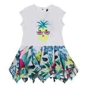 Catimini Girls Dresses Multi White Pineapple and Jungle Print Dress