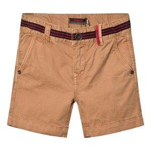 Catimini Girls Shorts Brown Tan Shorts with Stripe Waist Detail