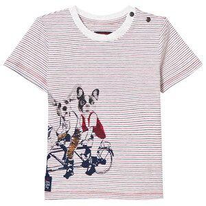 Catimini Girls Tops Red Multi Stripe and Dog Print Tee