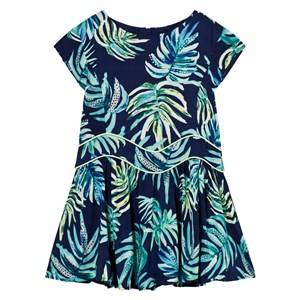 Image of Catimini Girls Dresses Navy Navy Dress with Multi Jungle Floral Print