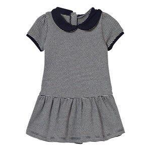 Petit Bateau Girls Dresses Navy Navy Stripe Collared Jersey Dress