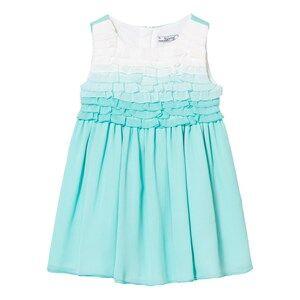 Mayoral Girls Dresses Green Aqua Ombre Frill Front Crepe Dress