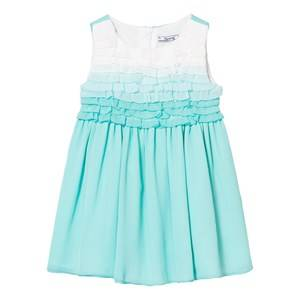 Image of Mayoral Girls Dresses Green Aqua Ombre Frill Front Crepe Dress