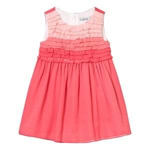 Image of Mayoral Girls Dresses Pink Coral Ombre Frill Front Crepe Dress