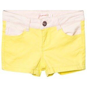 Image of Billieblush Girls Shorts Yellow Neon Yellow and Pink Denim Shorts