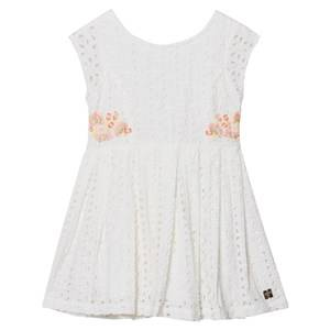 Image of Carrément Beau Girls Dresses White White Cotton Broderie Anglaise Embroidered Flower Dress