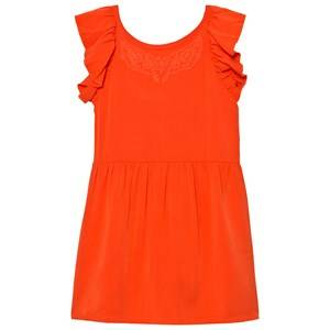 Image of Carrément Beau Girls Dresses Red Red Frill Back Embroidered Dress