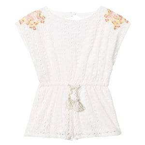 Image of Carrément Beau Girls All in ones White White Broderie Anglaise Playsuit with Floral Embroidery