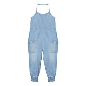 Image of Chloé Girls All in ones Blue Blue Chambray Playsuit