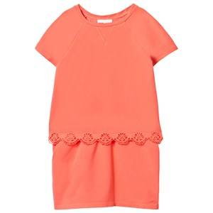 Image of Chloé Girls Dresses Orange Embroidered Anglaise Detail Tiered Dress Apricot