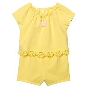Image of Chloé Girls All in ones Yellow Yellow Jersey Playsuit with Tiered Scallop Front