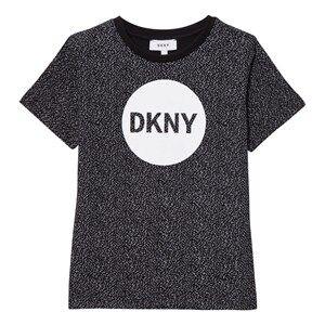 DKNY Boys Tops Black Black Speckled Logo Tee