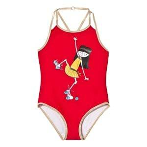 Little Marc Jacobs Girls Swimwear and coverups Red Red Rollerskating Frill Swimsuit