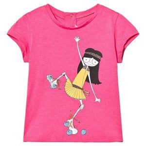 Little Marc Jacobs Girls Tops Pink Pink Miss Marc Rollerskating Print Tee