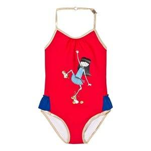 Image of Little Marc Jacobs Girls Swimwear and coverups Red Red Rollerskating Frill Swimsuit
