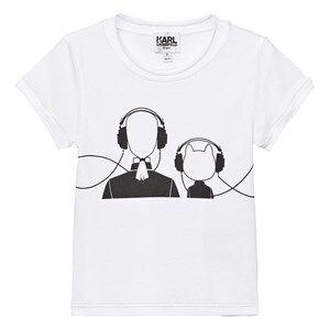 Karl Lagerfeld Kids Girls Tops White White Karl and Choupette Print Tee Mini Me