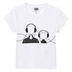 Karl Lagerfeld Kids Girls Tops White White Karl and Choupette Print Tee Mini Me