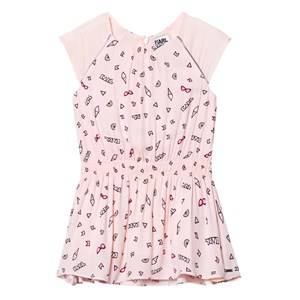Image of Karl Lagerfeld Kids Girls Dresses Pink Pink Icon Print Cap Sleeve Drop Waist Dress