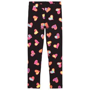 Moschino Kid-Teen Girls Bottoms Black Black All Over Heart Print Branded Leggings