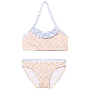 Image of Heidi Klein Girls Swimwear and coverups Pink Pink Lotte Tank Bikini with Blue Gingham Ruffle
