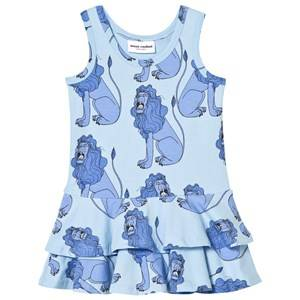 Image of Mini Rodini Girls Dresses Blue Lion Frill Dress Light Blue