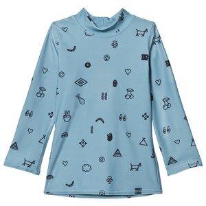 Soft Gallery Unisex Swimwear and coverups Blue Astin Swim Shirt Smoke Blue