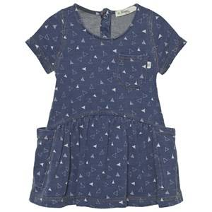 The Bonnie Mob Girls Dresses Blue Indigo Terry Dress With Pockets Denim Tee Pee Print