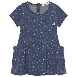 The Bonnie Mob Girls Dresses Blue Indigo Terry Dress With Pockets Denim Tee Pee Print