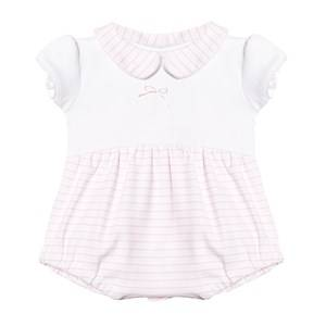 Image of Absorba Girls All in ones Pink White and Pink Stripe Collared Jersey Bubble Body