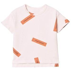 Tinycottons Girls Tops Pink Tiny Logo Oversized Tee Pale Pink/Dark Peach