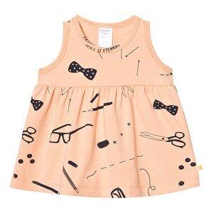 Image of Tinycottons Girls Dresses Beige Tailor´s Dress Nude/Dark Navy