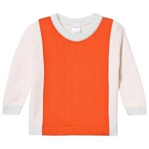 Image of Tinycottons Girls Jumpers and knitwear Pink Knit Color Block Sweater Pale Pink/Red
