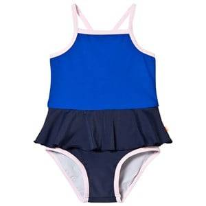 Image of Tinycottons Girls Swimwear and coverups Blue Frill Swimsuit Dark Navy