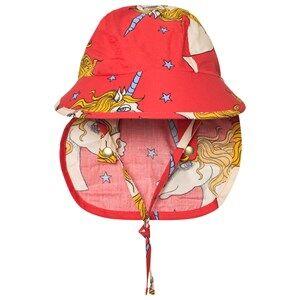 Mini Rodini Unisex Headwear Red Unicorn Star Sun Cap Red