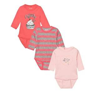 Image of Me Too Girls All in ones Pink Kani 223 3-Pack Baby Body Crystal Rose