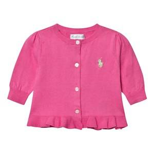 Image of Ralph Lauren Girls Jumpers and knitwear Pink Ruffled Cotton Cardigan Bright Rose