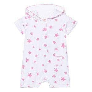 Image of Sunuva Girls Swimwear and coverups White Infants White and Pink Pop Star Towelling Onesie