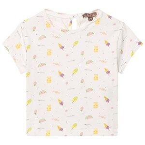 Emile et Ida Girls Tops White Tee Shirt Sucre Bonbons